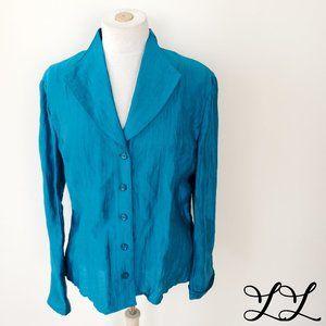 Jones New York Collection Top Turquoise Blue Linen